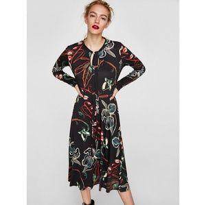 Zara Tie Neck Floral Black Long Sleeve Midi Dress